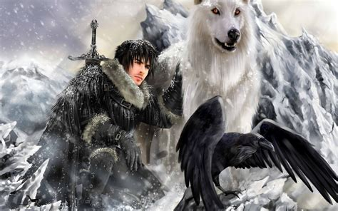 wallpaper ghost game of thrones jon snow and ghost wallpaper