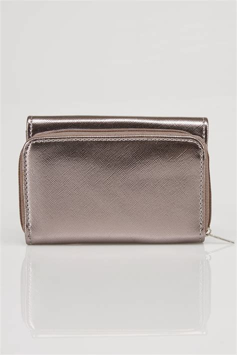 Find By Address Only For Free Metallic Pewter Pu Zip Around Purse With Metal Bar Trim