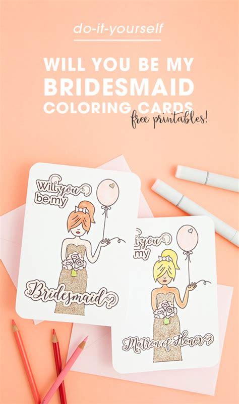 will you be my bridesmaid template free printable will you be my bridesmaid coloring cards