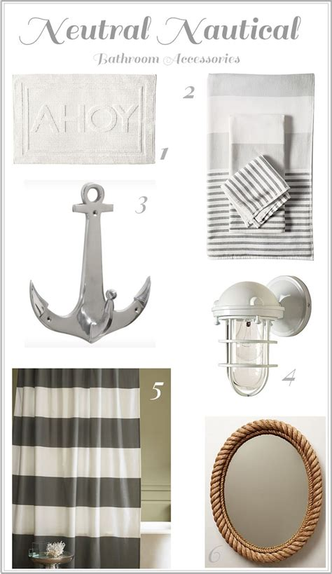 Neutral Nautical Bathroom Accessories Bathrooms Anchor Bathroom Accessories