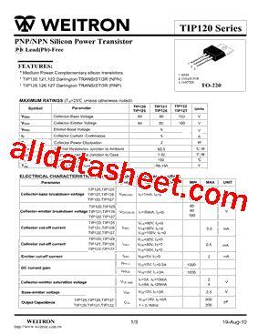 transistor tip127 datasheet tip127 datasheet pdf weitron technology