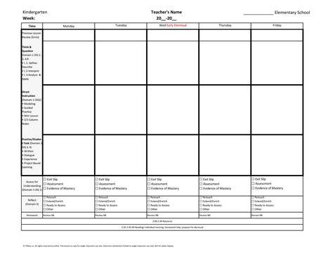 kindergarten lesson plan template for common kindergarten common weekly lesson plan template w