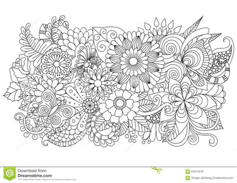 hand drawn zentangle floral background  coloring page