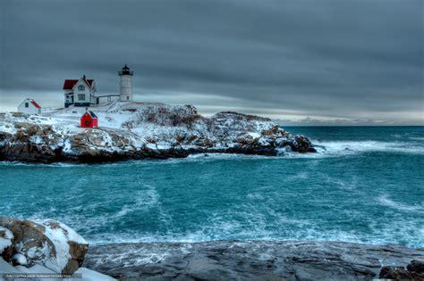 the winter sea wallpaper winter sea rocky shores lighthouse