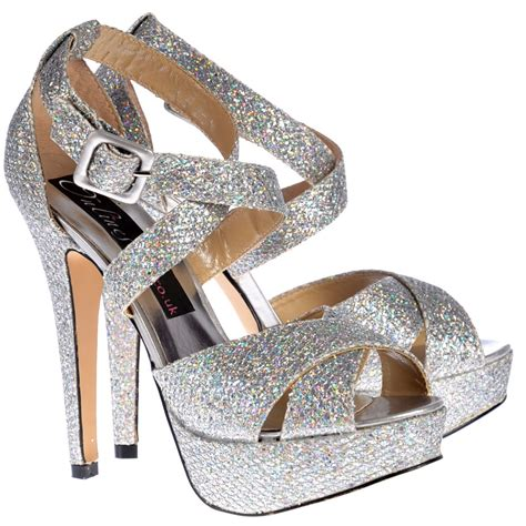 high heels silver shoes shoekandi strappy glitter stiletto platform high heel