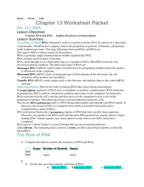 section 13 1 review dna technology chapter13 worksheets