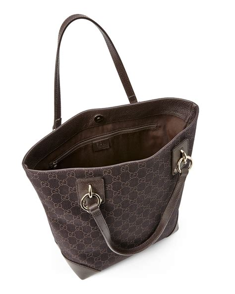Tas Gucci Zippy Waterproof Tote Brown Won gucci brown gg canvas classic tote in brown lyst