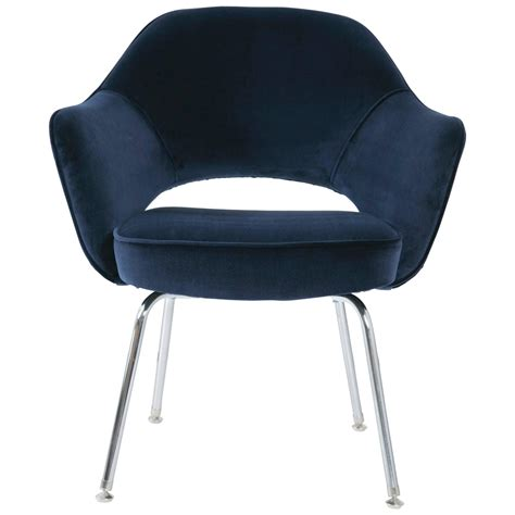 Navy Armchair Saarinen Executive Armchair Navy Velvet For Sale At 1stdibs