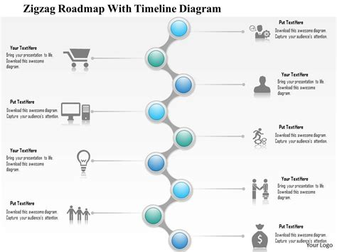 1214 Zigzag Roadmap With Timeline Diagram Powerpoint Presentation Roadmap Timeline Template Ppt