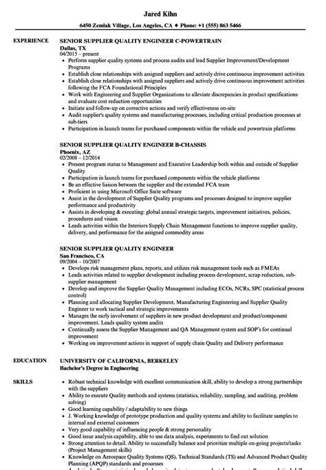 resume format for quality engineer senior supplier quality engineer resume sles velvet