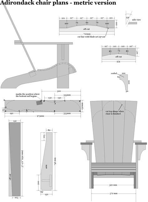 adirondack chair plans  metric dimensions junkobots