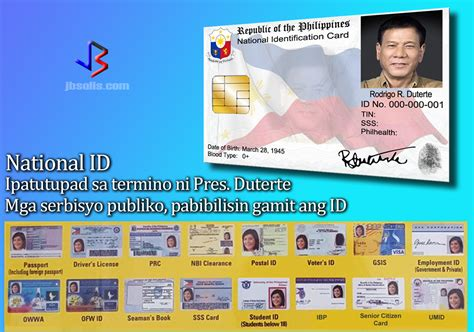 national id card template national id will be implemented within president duterte s