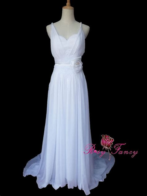 Handmade Flower Dresses - rosyfancy spaghetti straps a line chiffon wedding dress