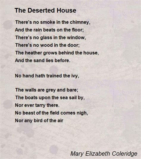 The Deserted House Poem by Mary Elizabeth Coleridge   Poem