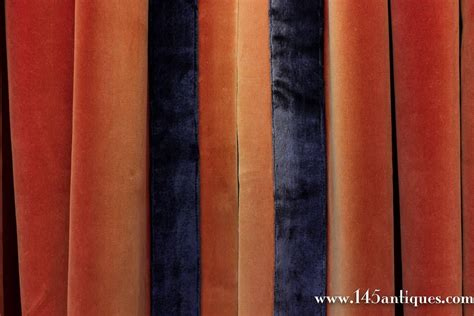 Orange Velvet Curtains Pair Of Sangrine Orange Velvet Drapes With Contrasting Navy Blue Trim For Sale At 1stdibs