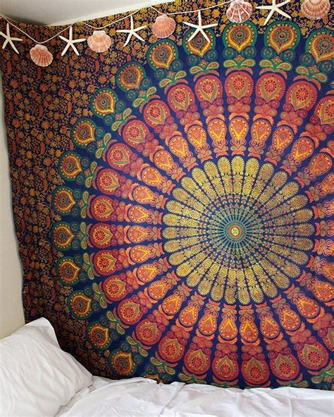 all that jazz wall tapestries and tapestries on pinterest blue yellow hippie medallion mandala boho tapestry wall