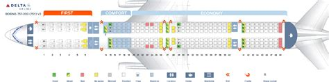 Row Home Floor Plan by Seat Map Boeing 757 300 Delta Airlines Best Seats In Plane