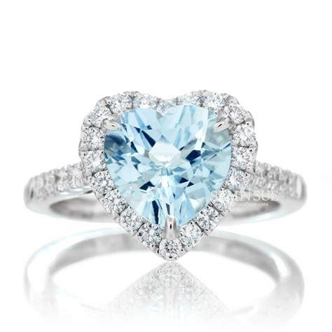 Aquamarine Engagement Rings by 8x8 Aquamarine Engagement Ring Halo