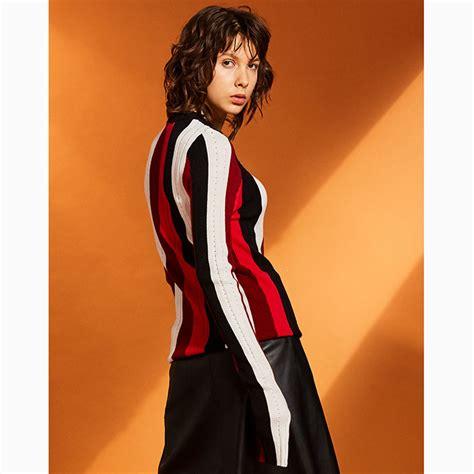 Sweater O Neck 24 s sleeve neck color block stripe sweater