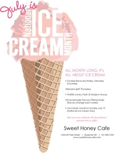 Ice Cream Month Flyer Summer Flyers Snow Cone Business Plan Template