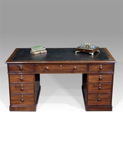 Antique Sided Partners Desk by Antique Partners Desk Pedestal Desk Leather Top Desk