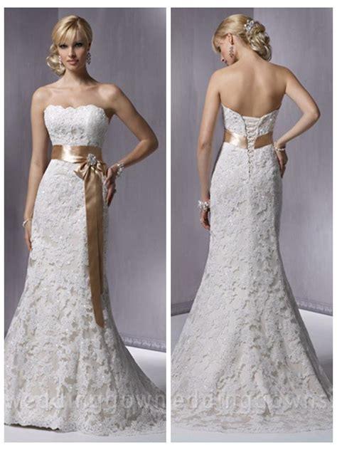 slim a line strapless satin lace beading wedding dress