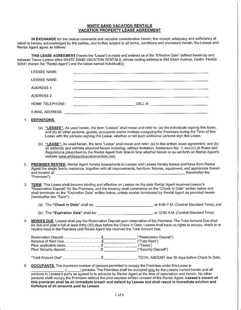 Rental Agreement Template Florida by 7 Rental Agreement Form Florida Printable Receipt