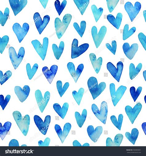pattern blue heart seamless pattern hand drawn watercolor heart stock