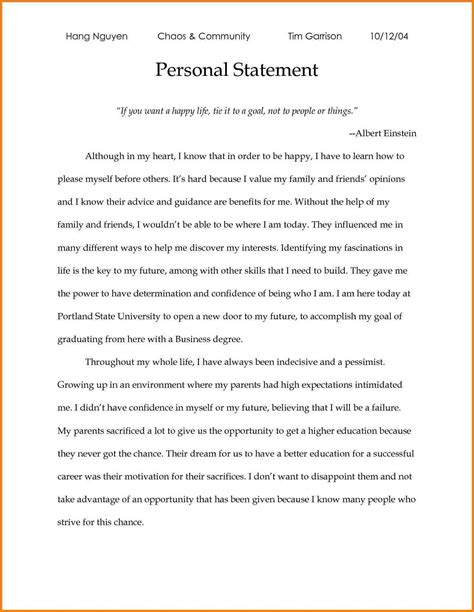 Personal Statement For College Template 9 personal statement exles for college admission attorney letterheads