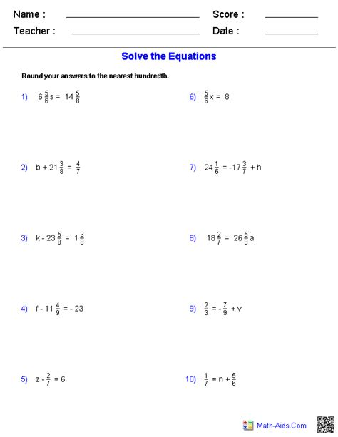Math Equations Worksheets by Pre Algebra Worksheets Dynamically Created Pre Algebra