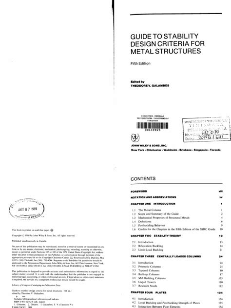 design criteria document galambos guide to stability design criteria for metal
