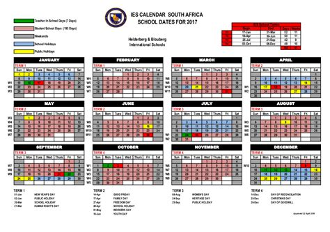 Calendar 2017 And 2018 South Africa Guide Sheet For 2017