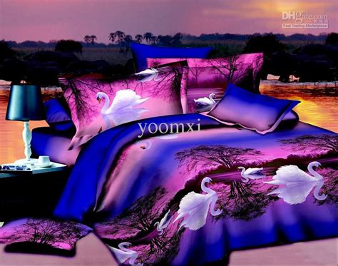 Set Floral 116 Busui Quality home textile purple blue swan lake 3d bedding set
