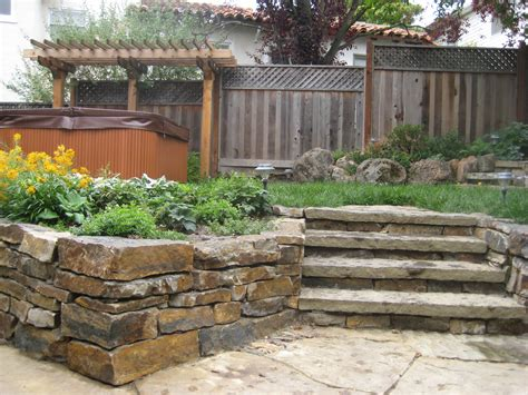 backyard retaining walls ideas backyard with stone retaining wall and steps l huls