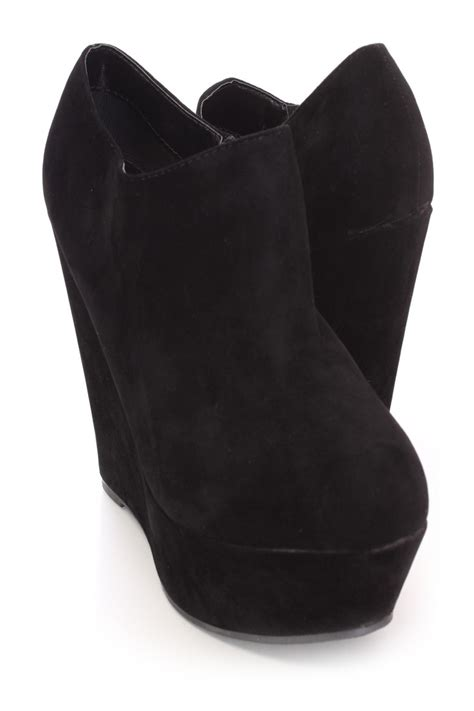 black closed toe wedge booties faux suede