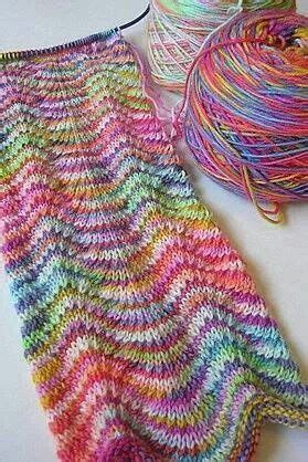 different knitting patterns using two different random striped yarns gorgeous effect