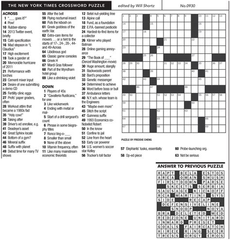 easy crossword puzzles new york times ny times crossword 0930 mountain xpress