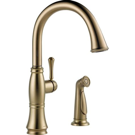 Single Handle Kitchen Faucet With Side Spray Delta Cassidy Single Handle Standard Kitchen Faucet With Side Sprayer In Chagne Bronze 4297