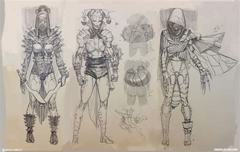 X Character Sketches by Exclusive Mortal Kombat X Concept By Marco Nelor
