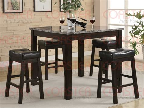 Marble Top Bar Height Table by 5pc Set Counter Height Marble Like Top Table Bar