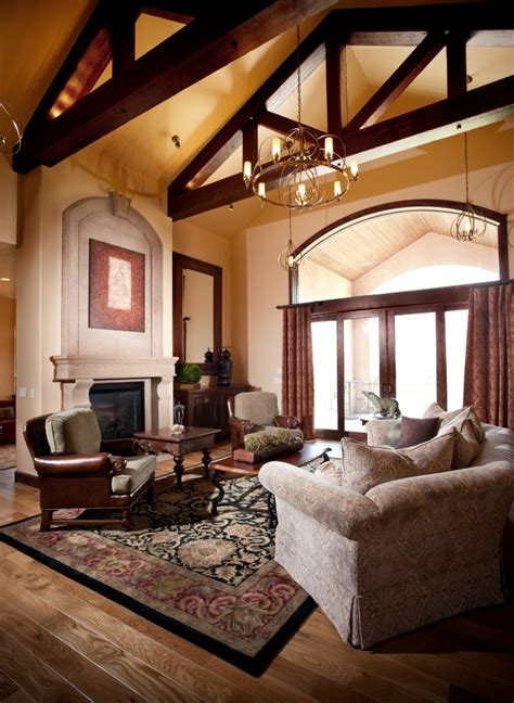 cathedral ceilings living room traditional with high