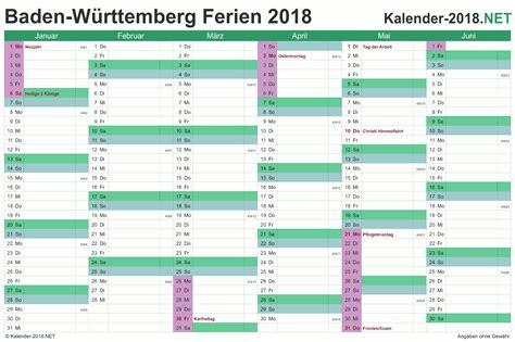 ferien baden w 252 rttemberg 2018 ferienkalender 220 bersicht