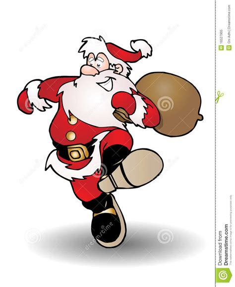santa claus bring pouch full of gifts stock illustration