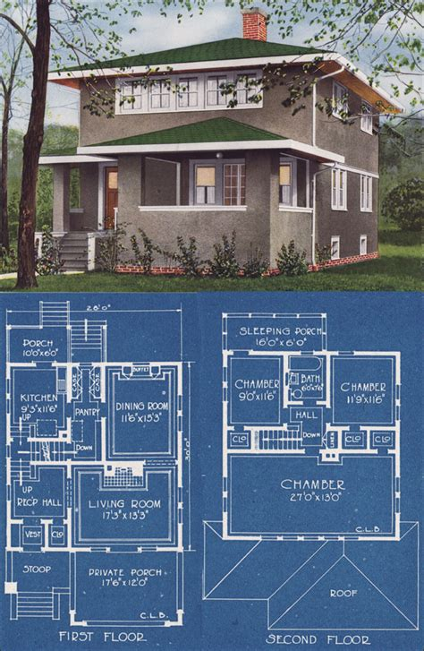 Modern Foursquare House Plans Modern Stucco Foursquare House Plan 1921 C L Bowes American Homes Beautiful