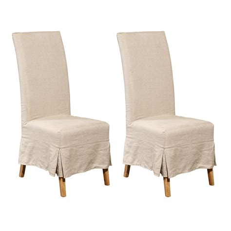 Linen Dining Chair Covers Furniture Classics 70018 Oak Linen Slipcover Parsons Dining Chair Set Of 2 Atg Stores