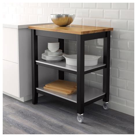 kitchen islands and trolleys stenstorp kitchen trolley black brown oak 79x51x90 cm ikea