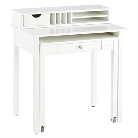 white solid wood roll out desk the container store