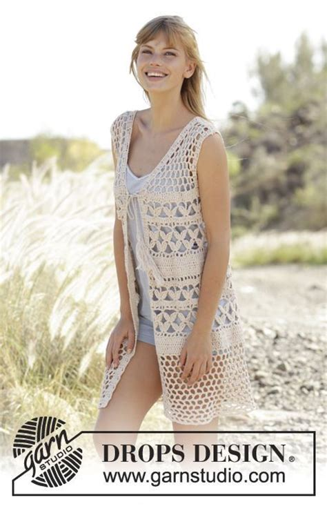 chalecos on pinterest crochet vests drops design and boleros crochet drops vest with a shape lace pattern and ties in