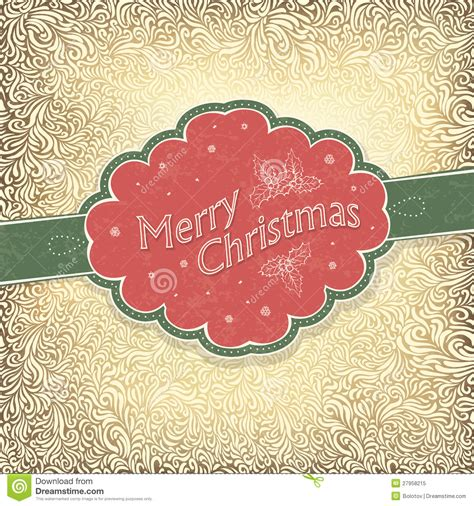 merry christmas vintage card stock vector image