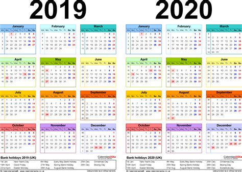 Calendar 2019 Word Two Year Calendars For 2019 2020 Uk For Word